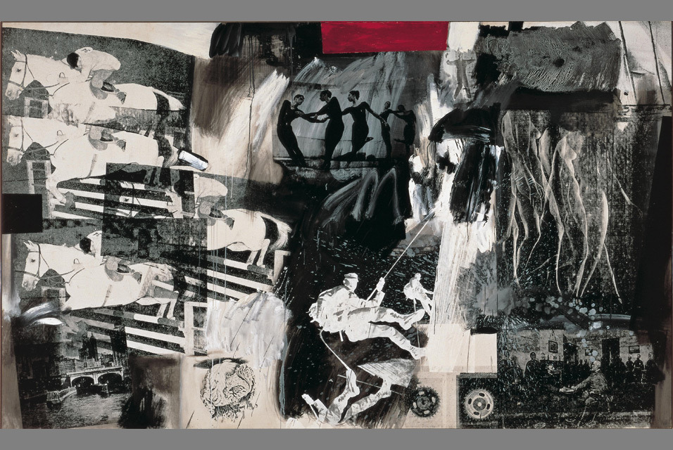 Robert Rauschenberg, Express, 1963. Oil and silkscreen ink on canvas. The Bride and the Bachelors: Duchamp with Cage, Cunningham, Rauschenberg and Johns is on view today through June 9 at the Barbican Centre in London.  Organized by the Philadelphia Museum of Art, The Bride and the Bachelors traces Marcel Duchamp's influence in the work of John Cage, Merce Cunningham, Robert Rauschenberg and Jasper Johns. Encountering Duchamp and his work in New York during the early stages of their own careers, each of the younger American artists embraced key elements of his ideas and practice, creating a seismic shift in the direction of art in the late 1950s and 1960s, which still resonates today. Often cited as being the father of conceptual art, Duchamp radically altered what we think of as art – employing chance and humour, questioning the tastemakers and perhaps most radically of all, creating works of art from everyday objects.