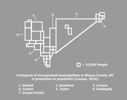 Wayne County Population Cartogram Inspired by the style of William Bunge, I put together this cartogram to get an idea of how population is weighted in Wayne County knowing that the suburbs to the west have significantly higher median incomes.