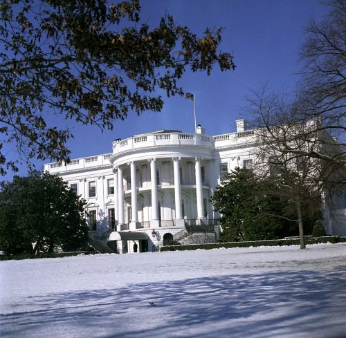 Snow on the White House Lawn South entrance of the White House, including the South Portico, as seen from the snow-covered South Lawn. Washington, D.C. 2/10/62. For those of you experiencing the Snowquester storm around D.C., have fun and stay safe! -photo from the JFK Library