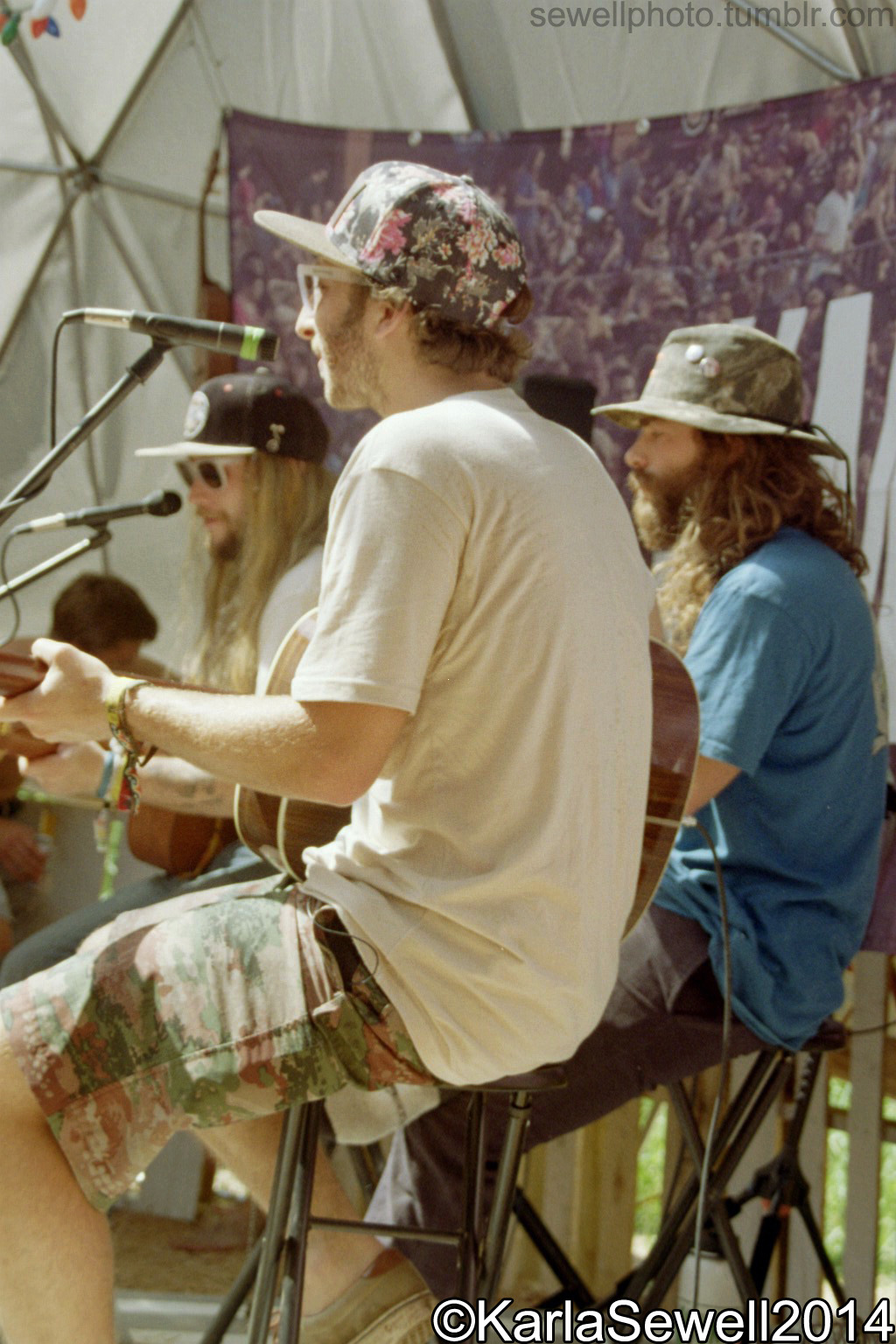 The Frendly jam session in the Martin Jam Dome with Mihali of Twiddle, Jack Mitrani, and Danny Davis. Taken June of 2014 in Windham, VT at the Frendly Gathering. Taken on a Canon EOS Rebel G SLR.  (Please don't remove tags or source, thanks!)