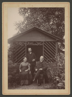 We're commemoratingNational Parents Day with this photo of Rudolf Blaschka standing behind hisparents, Carolina and Leopold Blaschka, in the garden of their home. Leopoldand Rudolf created lifelike glass models of flowers and marine invertebratesthat now can be found in collections all over the world, including at theMuseum.   [Blaschkafamily in their garden] [picture], 1880-1891? CMGL 98014.