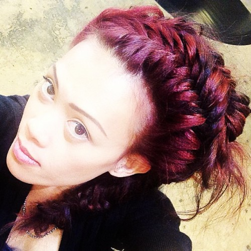 Can't get enough fishtail braids @bayliefavero #bighair #hairspray #redhair #crimpinainteasy #crimpandpimp #salon #love #planetsalon