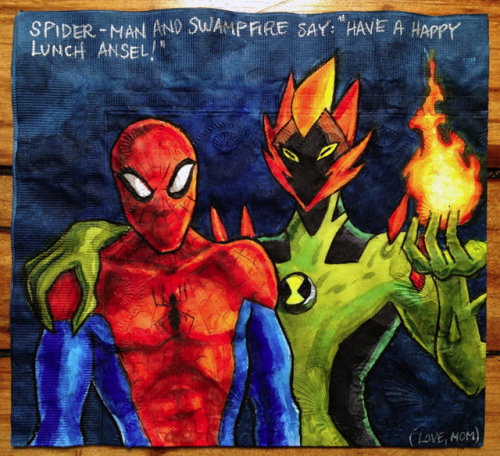 Super rad mom illustrates lunchbox napkins for her kids. Love.