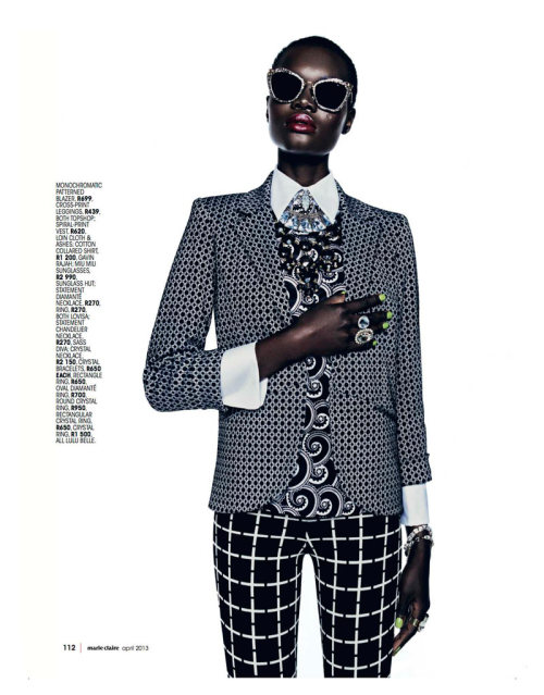 tomboybklyn:  pattern clash…Marie Claire South Africa, April 2013