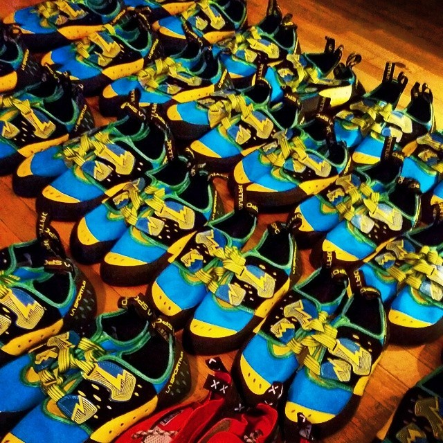 Loads of new climbing shoes came in today! Now lets hope it stops raining soon so we can get them out on the rock! #firstascentmountainschool #lasportiva