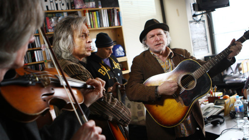 nprmusic:  Buddy Miller and Jim Lauderdale mix corny humor, musical merrymaking and timeless vocal harmonies. Watch the country music veterans perform an endearing set at the Tiny Desk.  Photo: Gaby Demczuk/NPR