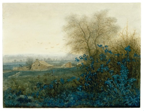 catonhottinroof:  Léon Bonvin, Landscape with a Farmhouse and a Peasant Wheeling a Barrow, 1865