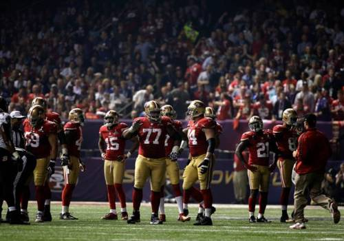 nbcnews:  Power goes out in Superdome, delaying Super Bowl XLVII in 3rd quarter (Photo: AP) NEW ORLEANS - Baltimore didn't lose any momentum from an extended halftime. Jacoby Jones took the 2nd half kickoff back 109 yards — setting an NFL record — to extend the Baltimore Ravens' lead to 28-6 early in the third quarter. Then the Superdome lights went out. Officials are still working to restore power to the stadium. Read the complete story.  The third quarter is usually when things get boring anyway, so it's probably a good thing that they shut off the lights.