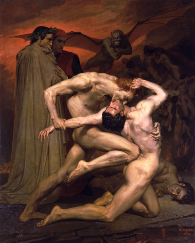 disasterpiecetheatre:  William-Adolphe Bouguereau - Dante and Virgil in Hell (1850)