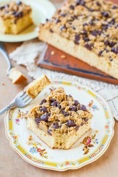 gastrogirl:  peanut butter honey buttermilk cake with chocolate peanut butter streusel.