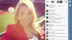 thedailywhat:  Photo Op of the Day: A Reporter's Instagram Self Reveals a Near-Death Experience Who knew taking selfies could get so dangerous? After Sun Sports reporter Kelly Nash took an Instagram of herself during a Red Sox batting practice, she later discovered that a flying ball had narrowly avoided hitting her in the skull. On an interesting side note, Nash later credited a DVD copy of the film Angels in the Outfieldshe had been carrying with her for saving the day.