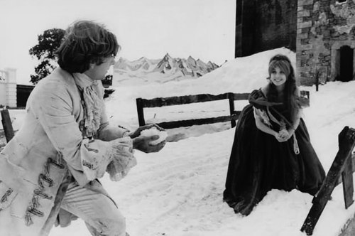 Roman Polanski and Sharon Tate on the set of The Fearless Vampire Killers