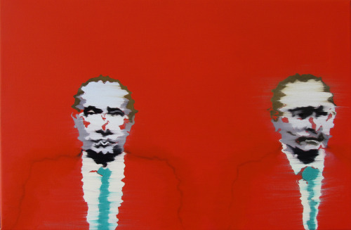 Nicholas Chistiakov - Vladimir on the red ground two times, 2013, painting, oil on canvas, 16 x 24 inches. More Iconic Portraits