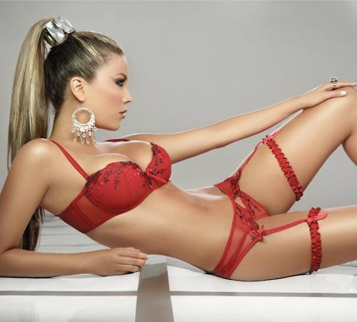 lavinialingerie:  #Sexy Red Balcony Bra & Sheer Garter Belt/String Thong #Lingerie Set