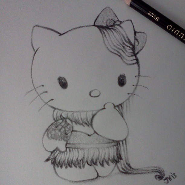 I made a #HelloKitty #sketch #fridaynigtartdorks #blicks #colorpencil #drawing #artistonistagram #art