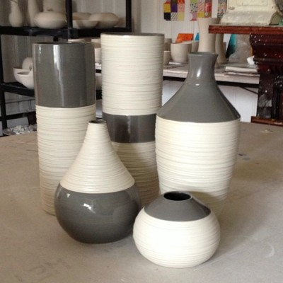 New Groove Vases in warm grey.