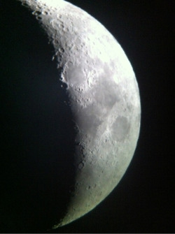 Didn't get to see the asteroid tonight, but I did have a look at the moon before the clouds set in. I took this with my phone through a telescope that's quite a bit larger than my own. :)