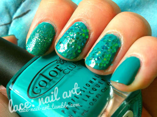 here are some crazy mermaid-y nails. this was done with color club abyss and and american crafts wow glitter set. abyss is slightly more green than I was able to capture in this photo though.