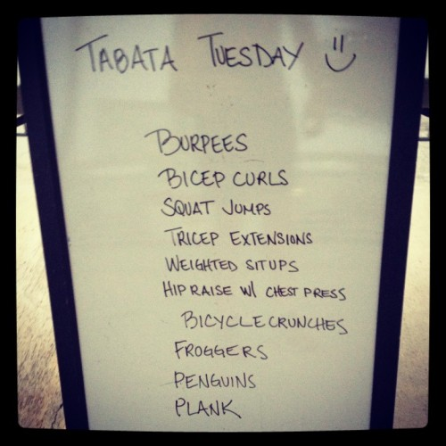 Tabata Tuesday! 8x total w/ 20sec/move & 10sec/rest in between.   Let's go!