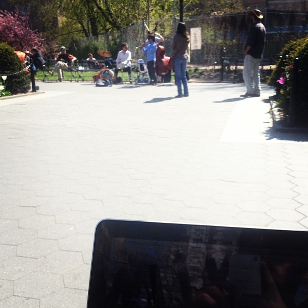 Working in the park with live jazz background music (at Washington Square Park)