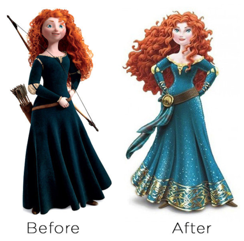 hyoipears:  Um. Merida got a redesign. And tHIS IS NOT OKAY?? Sure Disney's done redesigns for all their princesses lately and they messed those up pretty badly too. There's no point raising a fuss about Cinderella and Aurora's bangs because sigh I guess it's just hair (even though it really is quite atrocious. Their iconic hairstyles are simply gone) and it's the downright disrespectful appropriation going on in Pocahontas' new look that merits more complaints. But this. THIS. They've taken poor Merida and turned her into exactly what she didn't want to be. She's clearly skinnier than before even though Brenda Chapman specifically designed her not to be, her poor precious face is almost unrecognisable and they put her in the dress that she hated, the dress that wasn't just literally a physical constraint for her but symbolised everything that she hated about her life. They've put her in the dress that stands against everything she spent her entire film fighting against. They gave Merida choice and autonomy and now they're taking it away just because they want her to fit in with the rest of the princesses. THE WHOLE POINT OF THE FILM AND THE CHARACTER WAS THAT SHE DOESN'T HAVE TO CONFORM TO OTHER PEOPLE'S EXPECTATIONS OF HER BUT THAT SHE CAN BE A STRONG, CONFIDENT AND STILL FEMININEYOUNG WOMAN ON. HER. OWN. TERMS. And Disney's gone and spit on all of that. It's not even the people who drew and designed her that want it, there are so many interviews and inside opinions where people specifically state that they hate what they're doing to the characters with the redesigns, and that they keep trying to tone them down or keep them closer to the spirit of the originals. But marketing or whatever other crappy departments Disney have breathing down their necks forbid them from doing so and insist that no, make them look more ridiculous more horrible because this is Disney we don't care about children growing up with healthy views on women all we care about is money and we're sure this will get us lots of it omg so much money all the money leT'S EMBRACE THE MISOGYNY BECAUSE IT'LL GIVE US MORE CASH THAN WE KNOW WHAT TO DO WITH. It's not even just me, there is petition going around for people to sign asking Disney to stop and change Merida back because no this is wrong this is disgusting and i am in literal tears right now i cant handle this shit.