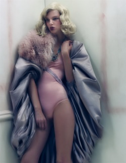 Suvi Koponen in coat by Christian Lacroix Haute Couture and vintage Azzedine Alaïa bathing suit, photographed by Craig McDean for W October 2008.