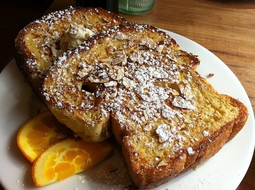 Meatless Monday: Almond French Toast  We're big fans of breakfast for dinner. Not only is it always tasty, but it's also an easy way to go meatless. This luxurious French toast from America's Test Kitchen is a substantial main dish — pair it with scrambled eggs or fruit or even a salad, and don't forget to wear pajamas!