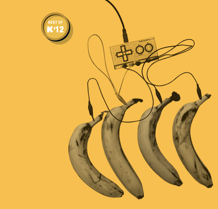 Songs in the key of yellow. Have you played MaKey MaKey's banana piano yet? Please note: No bananas were harmed during the making of this piano.