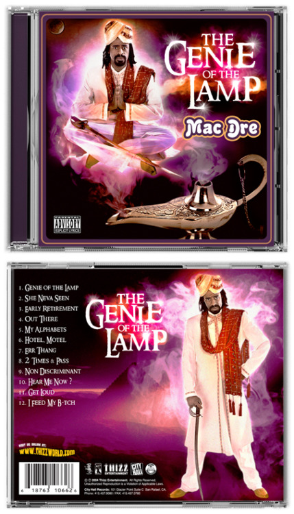 "photodocs:  Mac Dre ""The Genie of the Lamp"" (2004)… Lol I remember Dre was Juggling Album Titles & I did another version of this Cover wit the same style lettering that read..  ""Moo-Ham-It Al Boo Boo & The Nation of Thizzlam""… Maaan, no matter who u are or ur upbringing, prolly can't help but Chuckle when lookin at this cover… #ClassicAlbum #MacDre #RIP"