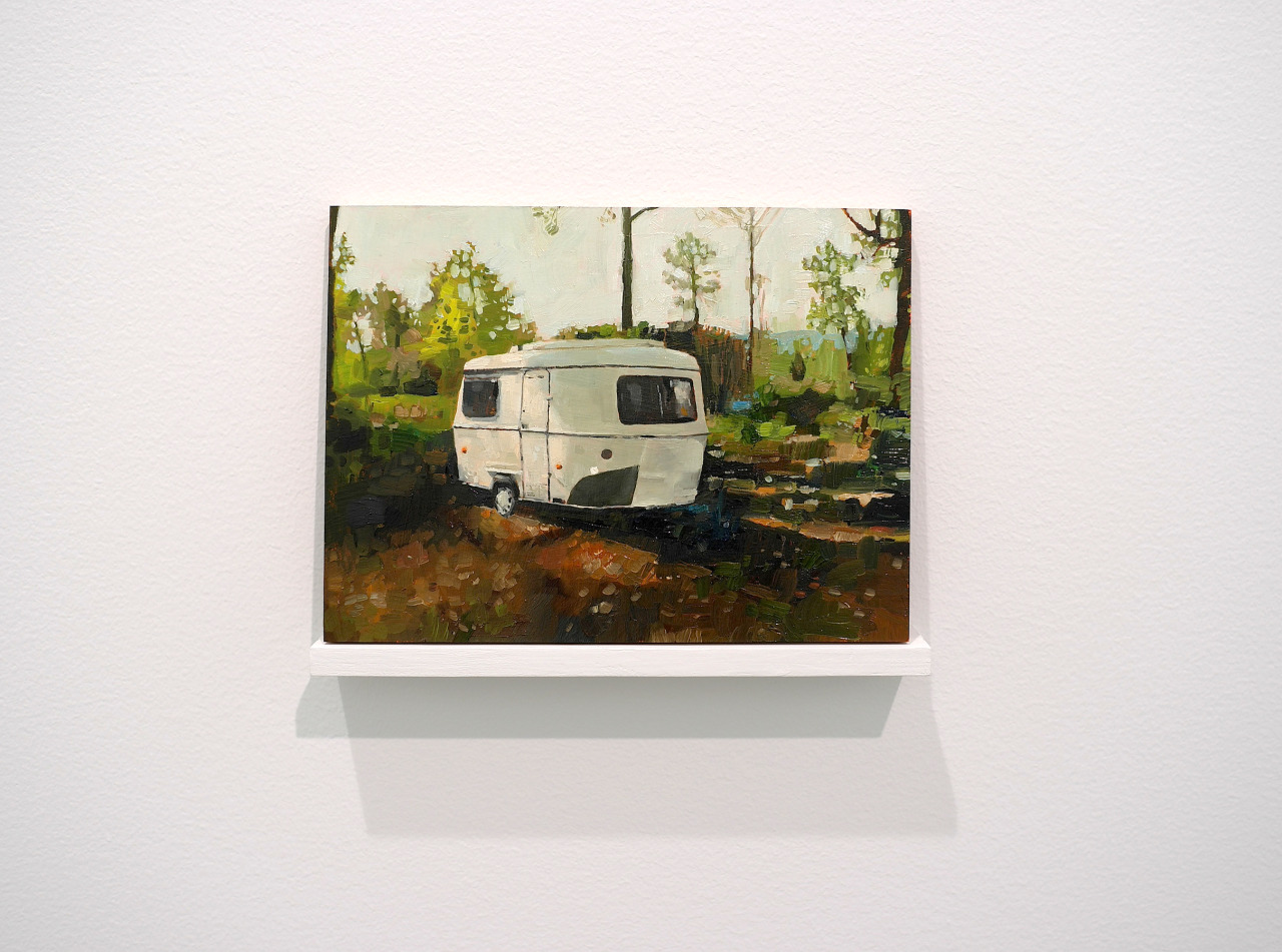 Conrad BakkerUntitled Project: CARAVAN [1978 Eriba Familia Caravan, Fayence 1800 EU]oil paint on wood panel, 2010