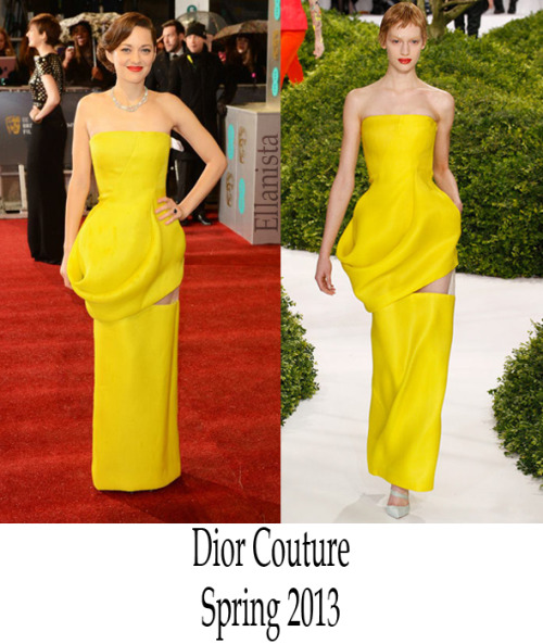 Red Carpet Fashion  Marion Cotillard wore a canary yellow Dior Couture strapless dress, Jimmy Choo shoes, and Chopard jewelry to the BAFTAs at The Royal Opera House.
