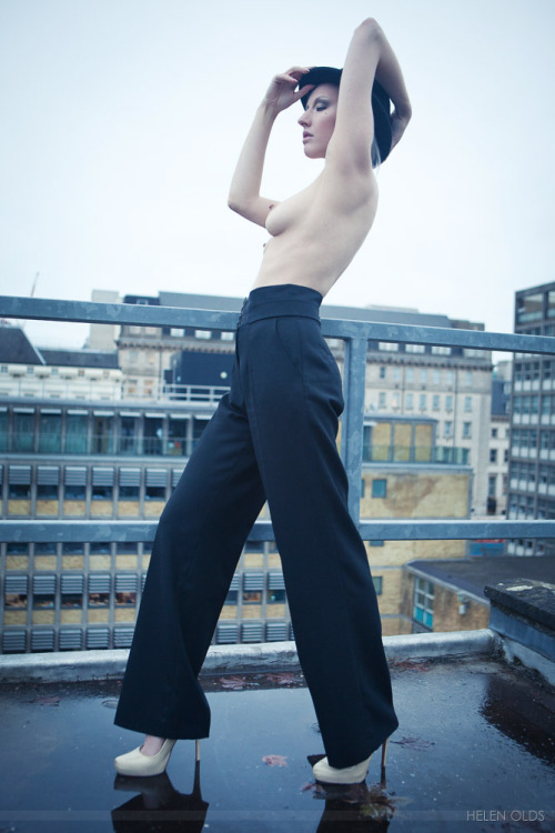 Manko on the roof of my hotel in London. Makeup by Sascha Rai.