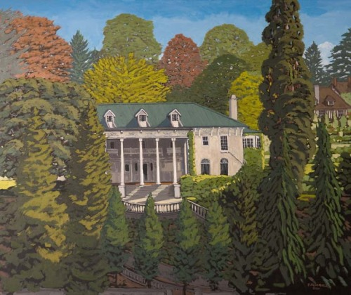 Hycroft by Michael Kluckner, painted for the University Women's Club which has owned the building for the past half-century. The plaque states the work was donated by Lois Millington in honour of Hycroft's 100th Anniversary March 2011. Michael writes on his site:   A good party and happy conclusion to a process that began last September with me getting onto the roof of a highrise a few blocks away with a 30 x 36 inch canvas…Normally when you're painting or photographing architecture you look for a low, corner angle that gives the composition strong diagonals and more drama; this straight-on view is much calmer, more conservative, befitting a mansion so well established in its landscape. The space has to recede in subtle shifts of tone and scale without any tricks of perspective.