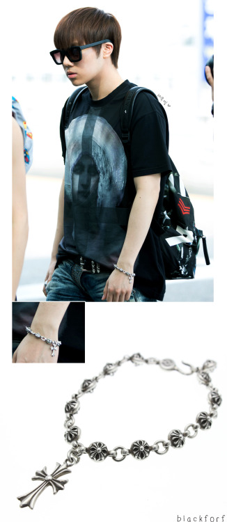 blackforf:   130522 Sunggyu INFINITE - Bracelet (AT Incheon Airport ) Chrome Hearts Cross Ball Bracelet Silver - $937.65 ( = 27,860 baht ) -DO NOT EDIT PLEASE TAKE OUT WITH CREDIT - [image source : namuel ] Cr. BLACKFORF Please accept my sincere apology in advance for any mistake that may occur