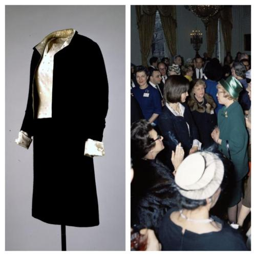 How She Wore It This classic Chanel suit was worn by Jacqueline Kennedy to a reception for the American National Theater fifty years ago this week (at right). -from the JFK Library