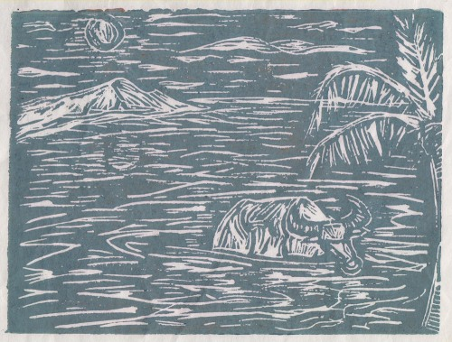"sumahi:  ""Karabao and the Moon."" Linocut. 2008.  OMG WANT!!!!!!!!!!!!!!!!!!!!!!!!!!!!!!!!!!!!!!"