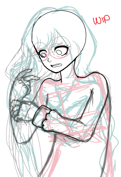 my sketches are so messy like wow, i bet you cant tell that fukawa is having a bad hair day w her braids