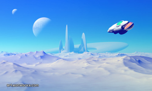 eonworks:  A spaceship approaching a home base on a far away planet… This image is a little bit of an experiment. I wanted to do something relatively simple without sacrificing the overall visual impression.