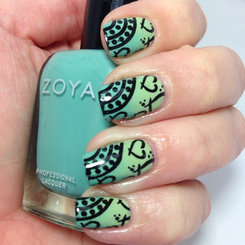 Notd! Zoya Wednesday, Essie Navigate Her and some Konad stamping :)