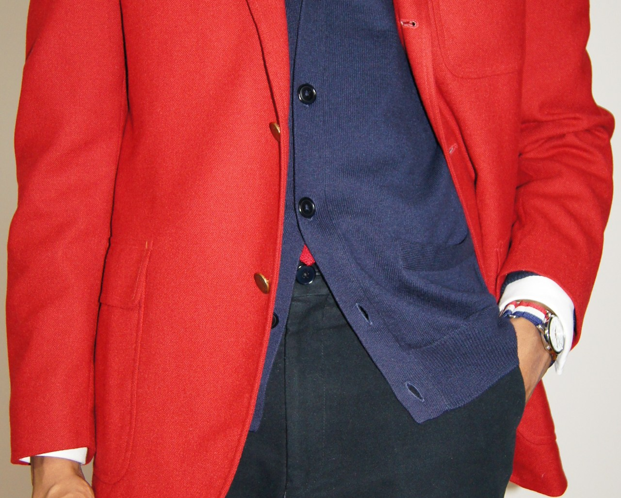 acutestyle:  02.14.13 Seeing Red Details.    Red, whites and blues in perfect harmony. Chapeau!