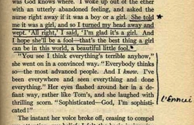 nevver:  Sylvia Plath's copy of The Great Gatsby