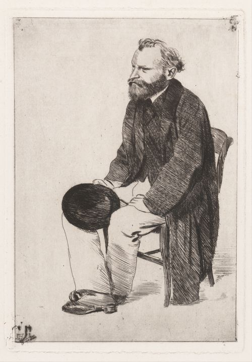 Edgar Degas, Manet Seated, Turned to the Left, ca. 1866–68During the 1860s, when Degas was very active as a portraitist, he made his friend Manet the subject of a group of drawings and prints.   MET