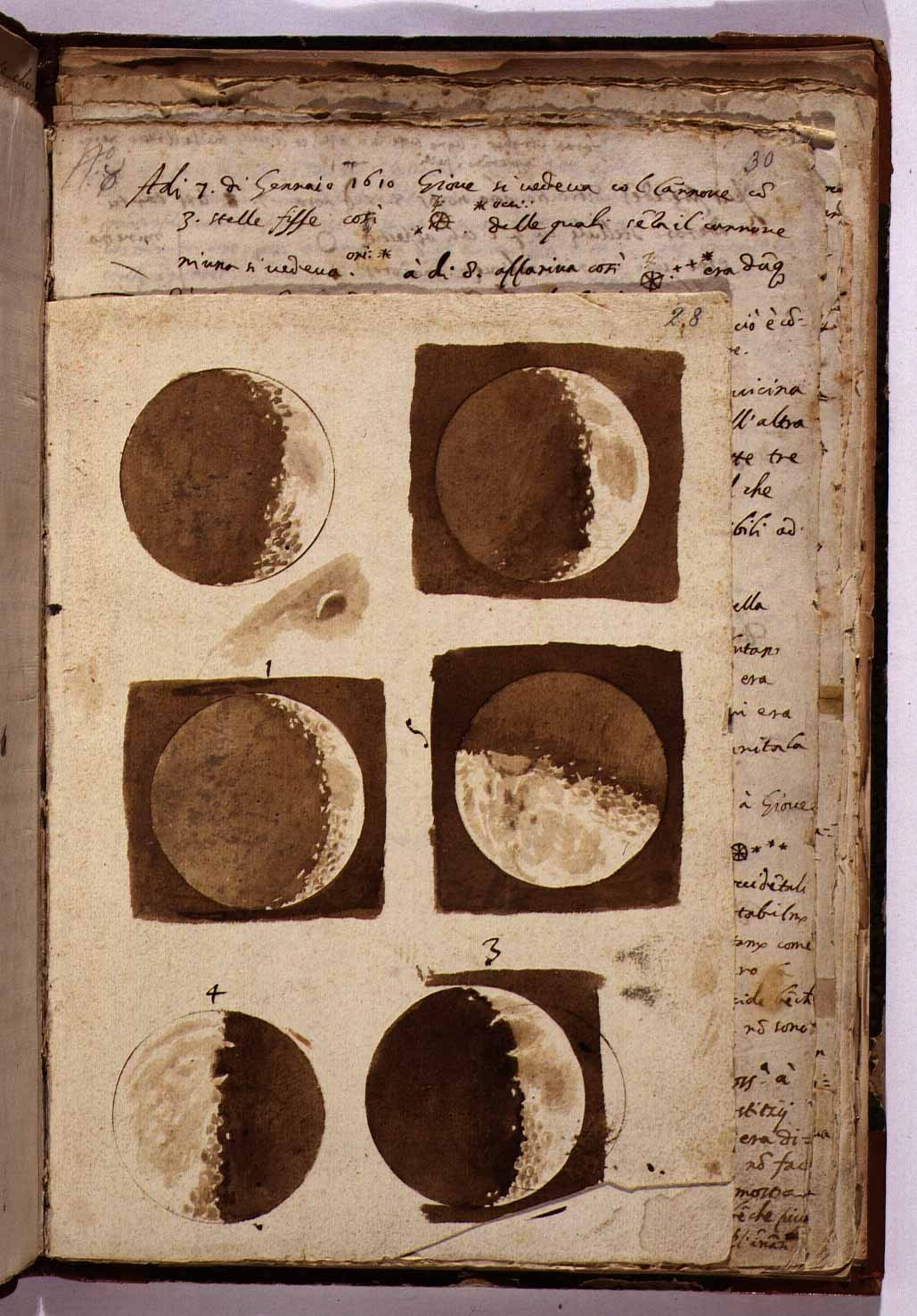 1910-again:  Drawings of the moon by Galileo Galilei, January 7, 1610