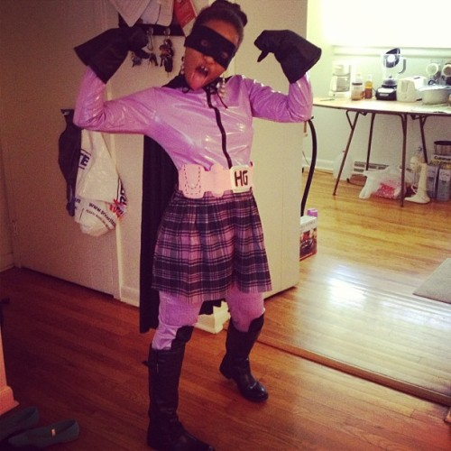 Hit Girl costume came in. Needs a ton of work. Should be fun! #costume #cosplay #geek
