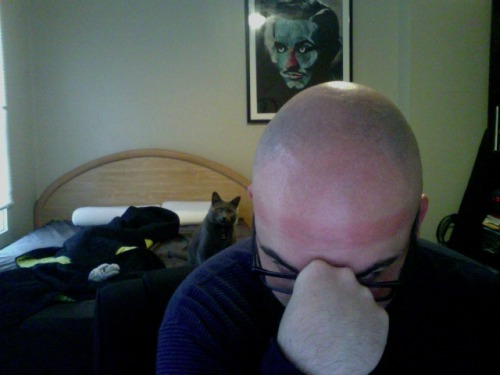 clean shave on the ol' noggin. Check out the hilarious hat burn on my forehead. Pekar is noticeably confused. Ed Wood is muggin' on the wall as usual.