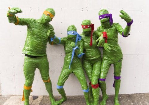 Is This a Terrible TMNT Cosplay or a Strange Fetish? Either way, can someone check to make sure these people didn't suffocate.