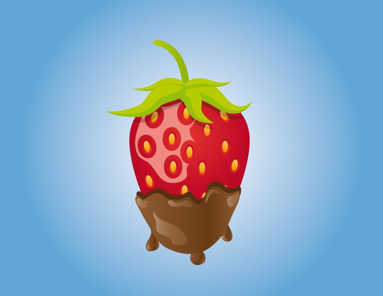 Chocolate covered strawberry. Drawn by the tutorial -  http://vectips.com/tutorials/create-a-mouthwatering-chocolate-covered-strawberry/