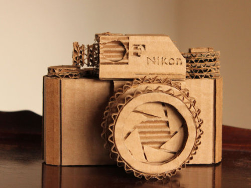 photojojo:  We spotted this stupendously detailed cardboard replica of a Nikon SLR over at the Etsy blog. It's made by the very talented cardboard artist Marta Crass of C is for Cardboard. Crazy Detailed Cardboard Replica of a Nikon