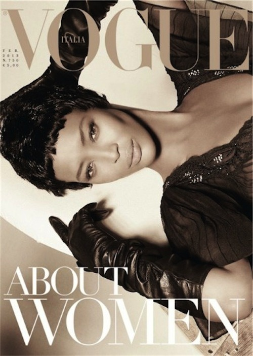 Still stunning as ever, Naomi Campbell covers Vogue Italia's Feb 2013 issue, shot by Stephen Meisel (check out her video interview here).