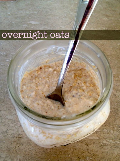 fit-strong:   Lauren Conrad's Overnight oats! It's a perfect mix of creamy yogurt goodness, rolled oats and your favourite fruity toppings. The oats soak in a mixture of almond milk and Greek yogurt overnight, thus softening them to perfection by the morning. I love it because I can wake up before my workout and quickly pull it out of the fridge and enjoy it on the go. It's so easy, and honestly, so so good. Simply mix all of the ingredients together and set it in your fridge in a sealed mason jar at night, and instantly enjoy the next morning.    Ingredients 2/3 cup almond milk (or milk of your choice) 1/2 cup organic rolled oats 1/2 cup vanilla (or plain) Greek yogurt (I used non-fat) pinch of ground cinnamon ( i used a lot more as i love it) Instructions The night before you plan to eat your oats, mix together all of the ingredients listed above and seal in an airtight container. Refrigerate the mixture overnight (they will be ready in about 3 hours, but overnight is best). Wake up and enjoy the next day! I like to add fresh berries and a little agave nectar in the morning or a handful of walnuts and some sliced up banana. Most cereal toppings work well though–honey, fruit, whatever… Test out a few different combinations and see what you like best.I love having this in the morning because it keeps me full and feeling good. It's a great way to start your day since the oats are filling and the yogurt is packed with healthy probiotics and lots of calcium!Give it a try and let me know what you top off your oats with!